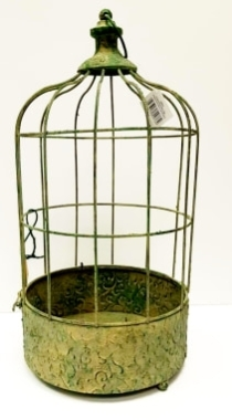 Hanging Metal Plant Cage Antique Green