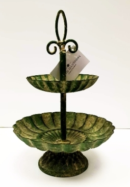 Two Tier Bird Feeder Antique Green